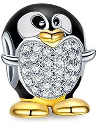NinaQueen Pinguino Abalorio de mujer de plata de ley