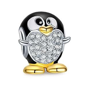 NinaQueen Pinguino Ciondolo Bead da donna argento sterling 925 per pandora charms bracciale Regalo compleanno natale san valentino festa della mamma Regali anniversario per moglie figlia madre sposa