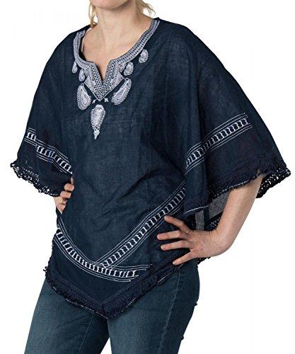 styleBREAKER Poncho mit besticktem Kragen im Paisley Muster, Strand, Sommer, Damen 08010023, Farbe:Dunkelblau-Weiß (Jacken Inka Blau)