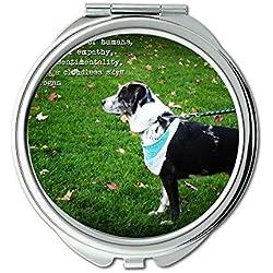 Yanteng Spiegel, Compact Spiegel, Happy English Bulldog Puppy Hundeliebhaber, Taschenspiegel, 1 X 2 X Vergrößerung