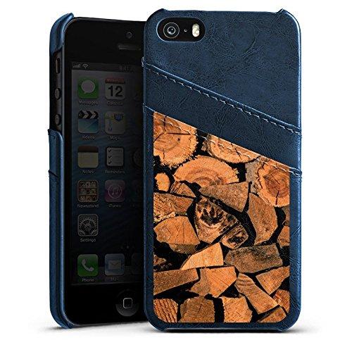 Apple iPhone 4 Housse Étui Silicone Coque Protection Look bois Arbre Bûche Étui en cuir bleu marine