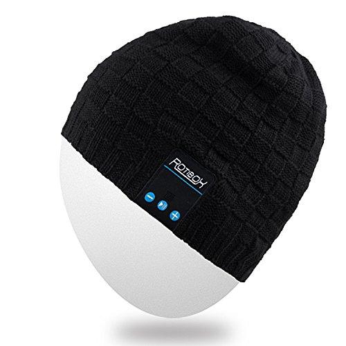 Mydeal Waschbar Winter-Männer-Frauen-Hut Bluetooth Beanie Lauf Cap mit Bluetooth-Stereo-Kopfhörer Mic Hands Free Akku für Handys, iPhone, iPad, Android, Laptops, Tablets - Schwarz