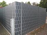 Sonderposten - 10 Sichtschutzstreifen Hellgrau im Set - Hart PVC -Sichtschutz - Windschutz - Zaunstreifen zum Einflechten - Doppelstabmatten Zaun - Stabgitterzäune