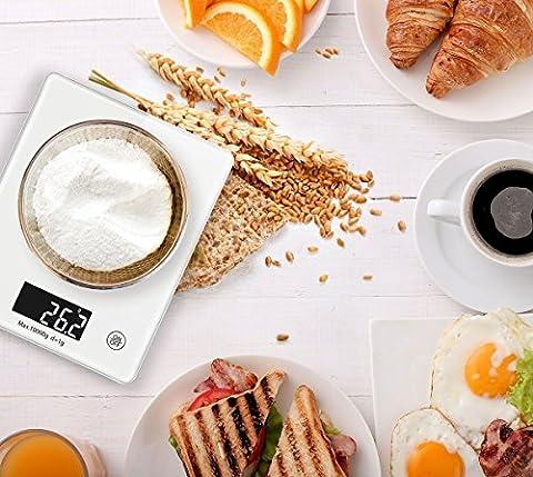 Alians Digital Balance de cuisine cuisson cuisson Mesures électronique à écran LCD en verre trempé, verre trempé de cuisine Nourriture Échelle, capacité de 5kilogram par 2,8gram, Blanc