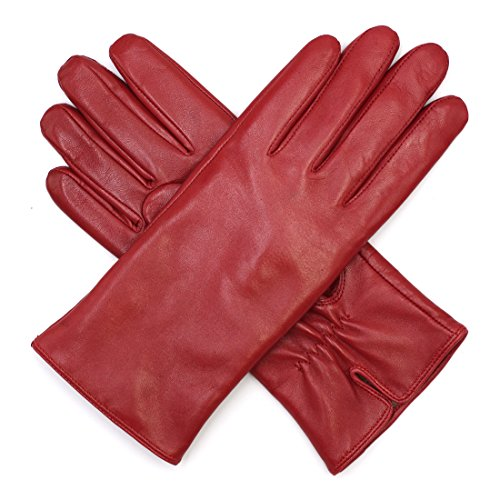 Harssidanzar Damen Luxus Italienischen Schaffell Lederhandschuhe Kaschmir Gefüttert, Rot, XL