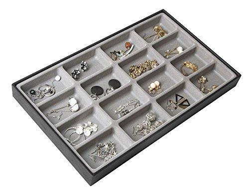 Jack Cube Design 40Fächern stapelbar Leder Schmuck Tablett Ohrring Halskette Armband Ring Organizer Display Aufbewahrungsbox (Set von 1, 40,6x 24,4x 4,1cm) -mk212–1A MK212-1D(BLACK)