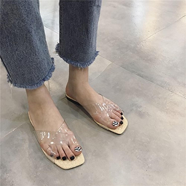 Nuova Versione Coreana, Vetro Trasparente Adesivo La Cintura, Testa Quadrata, Quadrata, Quadrata, Decorate Solo La Stampa Le Pantofole... | Exit  53f06c