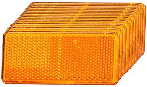 Rechteckiger Reflektor (10er - Set I Rückstrahler, Seitenstrahler, Reflektor selbstklebend (orange rechteckig, 90x40mm) E-Prüfzeichen)