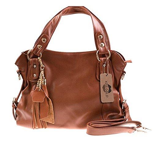 KISS GOLD Damen künstliche Leder Handtaschen, Schultertaschen, Beuteltaschen, Hobo Handbag, Braun 34x30x10 cm (B x H x T) (Clutch Bag Handtasche Hobo Leder)