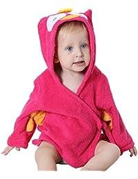 Vlunt Super absorbente, tacto suave algodón orgánico Boy & Girl de bebé de algodón bebé animal de baño con capucha albornoz de toalla de playa, perfecto para bebé de 0a 12meses