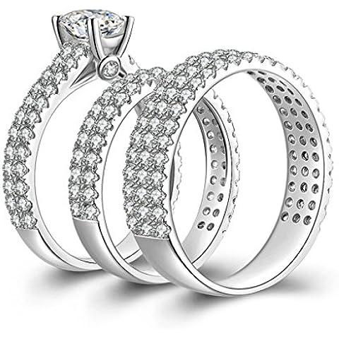(Personalizzati Anelli)Adisaer Anelli Donna Argento 925 Anello Fidanzamento Incisione Gratuita Triple Anello Diamante - 4 C Gemme Gioielli