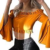 Venmo Frau Sexy trägerlose Ärmel Einfarbig Kurze Kurz Geschnittene Top Bluse Kaltes Schulter Sweatshirt mit Langen Ärmeln Pullover Schulterfrei Bluse Shirt Damen Cold Shoulder Locker (Orange, S)