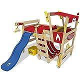 WICKEY Hochbett mit Rutsche CrAzY Smoky Kinderbett 90 x 200 Spielbett Kinder mit Lattenboden und viel Zubehör, Feuerwehrbett, rote Plane + blaue Rutsche