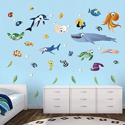 decalmile Unter dem Meer Wandtattoo Bunt Meerestiere Schildkröte Tintenfisch Fisch Wandsticker Entfernbarer Wandaufkleber Babyzimmer Wohnzimmer Schlafzimmer Kinderzimmer Wanddekoration