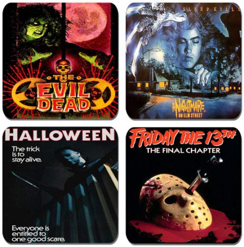 Set of 4 x Vintage 1980s Horror Movie Poster Coasters