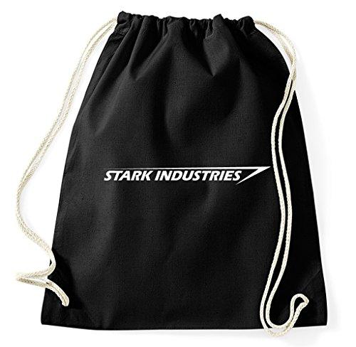 Stark Industries Logo Tony Iron Man Turnbeutel Sportbeutel Jutebeutel Rucksack Spruch Sprüche Hipster Design, schwarz