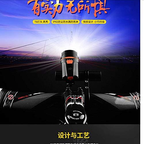 zhuoqizhou Mountainbike-Lampen-Scheinwerfer helle Taschenlampe USB-Ladeaufladung Horn Bell Reitgeräte Zubehör -