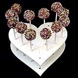 Super Cool Creations 200x 65x 160mm Acryl herzförmige Cake Pop-Ständer mit 15Löchern 5cm Apart, weiß
