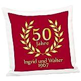 Personalisiertes Kissen – goldene Hochzeit (Rot): Dekokissen 40x40 mit individuellem Wunschnamen und Jahreszahl, persönliche Geschenkideen zum Hochzeitstag