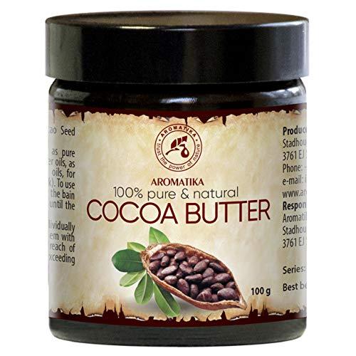 Cocoa Butter 100g Glas - Südafrika - Kakao Butter Unraffiniert - Native Rein & Natürlich - Kakaobutter für Lippenpflege - Stretch Marks - Haare - Körperbutter -