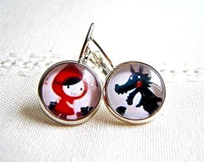 Boucles d'oreilles : petit chaperon rouge et grand méchant loup