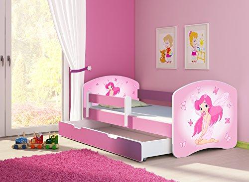 Preisvergleich Produktbild Clamaro 'Fantasia Pink' Motiv Kinderbett Komplett Set 180 x 80 cm inkl. Matratze, Lattenrost und Bettkasten Unterbett Schublade auf Rollen, Kantenschutzleisten umlaufend, extra Rausfallschutz Seitenteil (verstellbar), Seitenteile: Pink, Design: 07 Pinke Fee