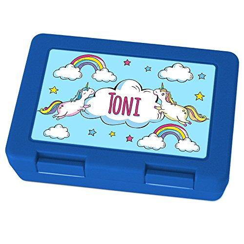 Brotdose mit Namen Toni - Motiv Einhorn, Lunchbox mit Namen, Brotdose Blau - Frühstücksdose Kunststoff lebensmittelecht