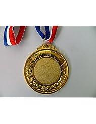 Médaille de récompense sport or dorée 6cm métal ruban tricolor bleu blanc rouge