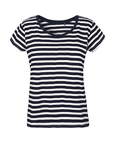Ärmel Bio-baumwolle Shirt (Green Cat- Ladies Loose Fit T-Shirt, 100% Bio-Baumwolle. Fairtrade, Oeko-Tex und Ecolabel Zertifiziert, Textilfarbe: bwgestreift, Gr.: XL)