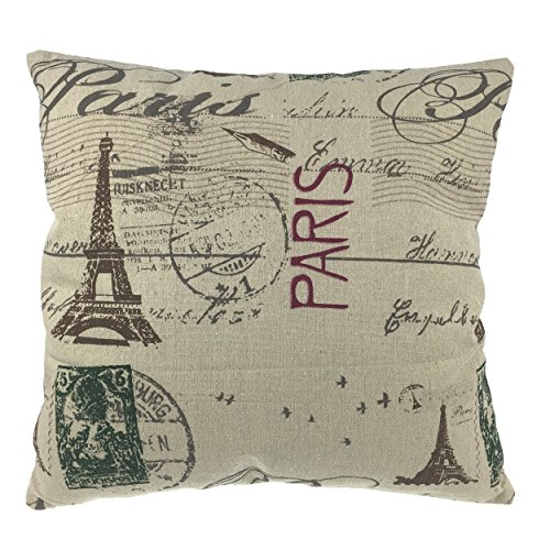 Luxbon Vintage Kissenbezug dauerhaft Leinen Dekokissen Paris Eiffelturm Hause Zimmer Cafe Sofa Auto Dekokissen 45 x 45 cm (Vintage Dekokissen)