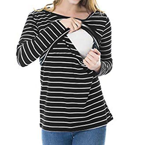 ♯ vovotrade ♯ womens solid stripe nursing shirt manica lunga girocollo camicetta per l'allattamento maternità multifunzionale