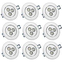 9 X Auralum 3W 270 Lumens 2800K - 3000K bianco caldo faretto da incasso a LED faretto lampada a risparmio energetico luce Set