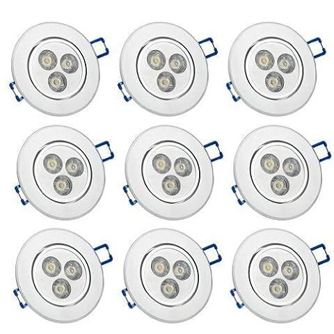 9er Auralum® 3W LED Decken Lampe Einbauleuchte Leuchte Spot Strahler Leuchtmittel Warmweiß