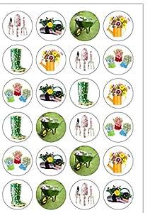 Lot de 24 décorations pour le thème jardin plaquette comestibles Papier Cake Toppers décorations et idéales pour Inscription Grandma