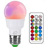 iLC Glühbirne mit Fernbedienung Farbwechsel Farbige Leuchtmittel LED Lampe Edison Dimmbare Farbige Leuchtmitte Lampen 3W E27 RGB LED Birnen - Dual Memory - 12 Farben