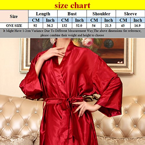 Zhhlaixing Fashion Summer Long sleeves Nightgown Womens Home Silk Sleepwear One size Red