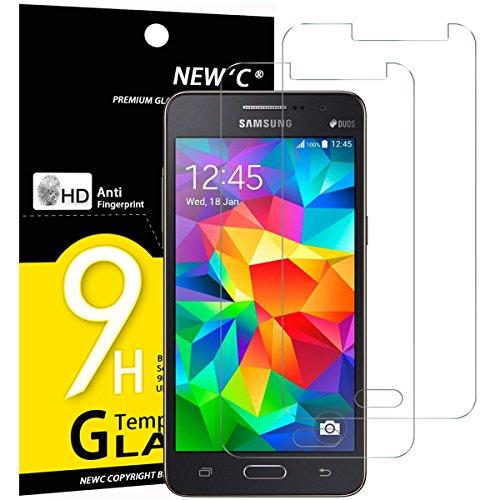 NEW'C PanzerglasFolie Schutzfolie für Samsung Galaxy Grand Prime, [2 Stück] Frei von Kratzern Fingabdrücken & Öl, 9H Härte, HD Bildschirmschutzfolie, BildschirmschutzfolieSamsung Grand Prime