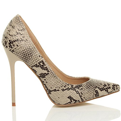 Femmes talon haut fête élégante escarpins de travail chaussures pointue taille Beige / Serpent noir
