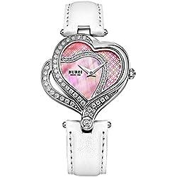 Relojes Hermosos, BUREI 7003 Romántico 3ATM impermeable Movimiento de cuarzo de doble corazón Dial Rhinestone Fritillary encrusted reloj con banda de cuero genuino para las mujeres ( Color : Rosa )
