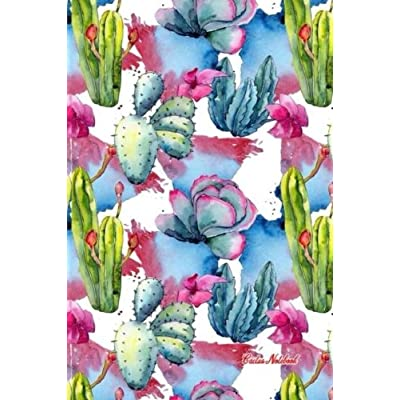 Cactus Notebook: 120 Blank Lined Page, 6X9 Inches, Exotic Wildflower Cactus Pattern In A Watercolor Style (Volume 8)