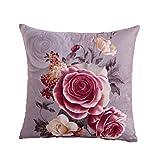 WINOMO Pfingstrose Blumen Muster Baumwolle Leinen Dekokissen Fall Kissenbezug Hause Sofa Dekorative (grau)