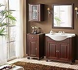 Badmöbel RETRO 85 mit Waschbecken MASSIVHOLZ BRAUN verschiedene Kombinationen (Waschtisch Spiegel Hängeschrank Unterschrank)