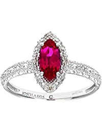 Naava Women's 9 ct White Gold Round Brilliant Cut Created Marquise Ruby and Diamond Cluster Ring