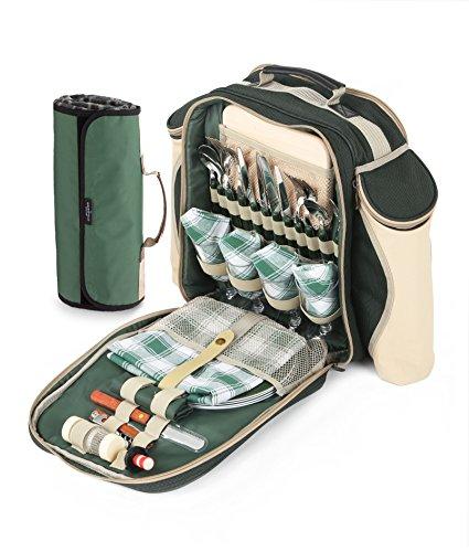 Greenfield Collection Deluxe-Picknick-Rucksack für 2Personen, mit passender Decke