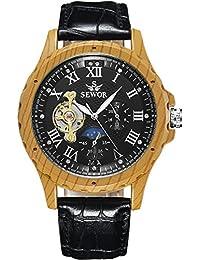 SEWOR reloj para hombre Tourbillon automático grano de madera caso fase de la luna negro Dial mecánico Piel de color negro reloj de pulsera