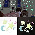 wiFndTu 7Pcs Luminous Sun Star Moon Wall Sticker Glow in Dark Removable Kids Room Decor