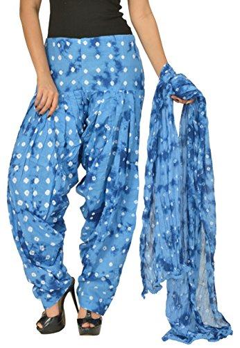 Gurukripa Women\'s Cotton Patiala with Dupatta (Blue)
