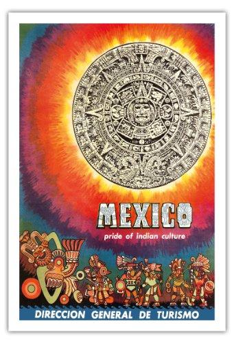 Pacifica Island Art Mexico-orgoglio della cultura indiana-Aztec tablet e Warriors-vintage World Travel poster-Stampa artistica 30' x 44'