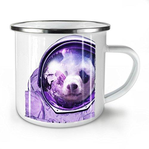 Kostüm Reflexion Maske - Wellcoda Astronaut Panda Bär Emaille-Becher, Raumfliegen - 10 Unzen-Tasse - Kräftiger, griffiger Griff, Zweiseitiger Druck, Ideal für Camping und Outdoor