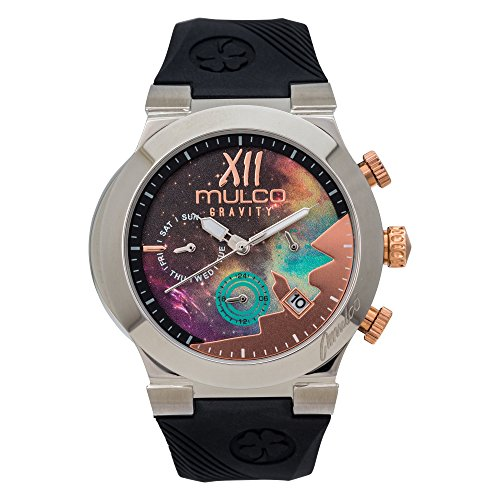 Mulco Gravity Galaxy Analog Chrnograph Watch Premium Multicolor Analog Sundial With Black 100% Silicone Band- Rose Gold Accents- Water Resistant Stainless Steel -Women's MW5-4977-023